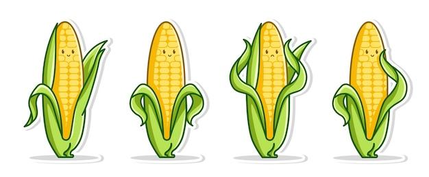 Набор набор позы милый мультфильм кукурузы