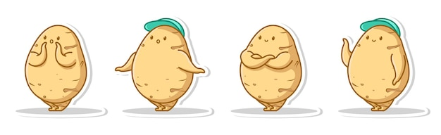 Bundle set pose cute of potato
