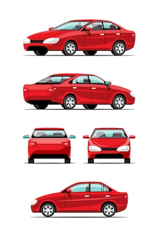 Bundle set side view of automatic cars or passenger cars  side, front, back, top view on white background, flat  illustration
