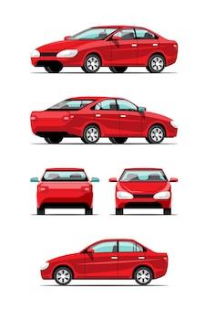 Набор пакетов, вид сбоку автоматических автомобилей или легковых автомобилей сторона, спереди, сзади, вид сверху на белом фоне, плоская иллюстрация