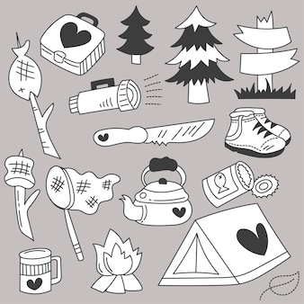 Bundle set of travel camping on holidays with cartoon items hand drawing sketch