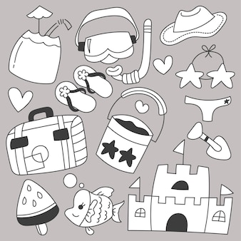 Bundle set of travel on summer holidays with cartoon items hand drawing sketch