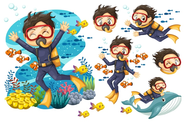 Bundle set of young man in suit scuba diver with mask dives under the sea