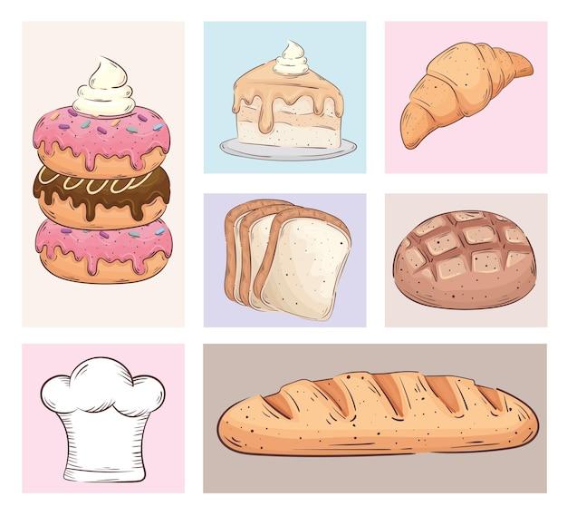 Bundle of seven bakery shop set icons vector illustration design