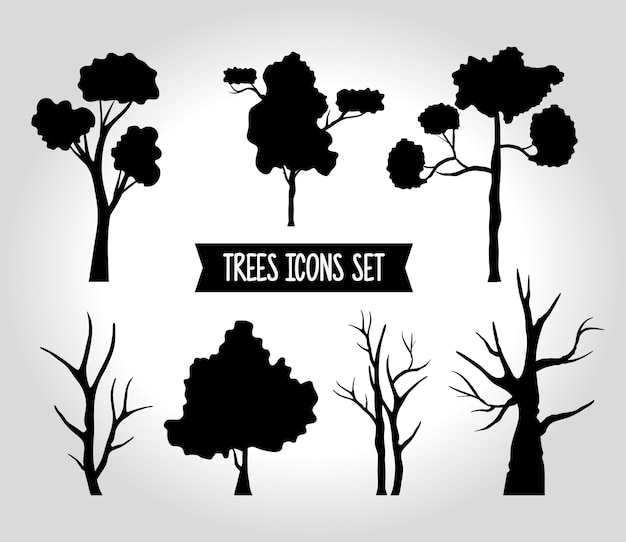 Bundle of seven trees forest silhouette style icons and lettering.