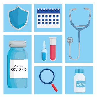 Bundle of seven  vaccine set icons  illustration Premium Vector