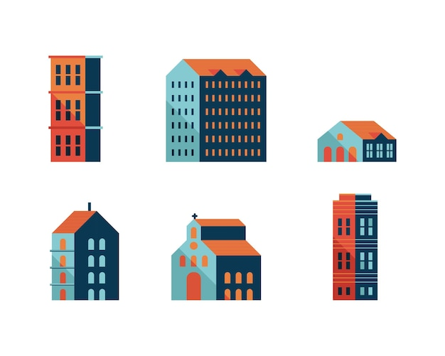 Bundle of six buildings blue minimal city set icons illustration design