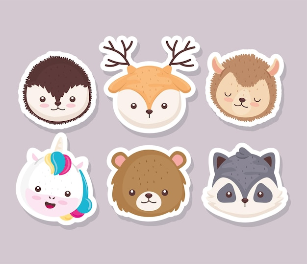 Bundle of six cute animals heads set icons  illustration design