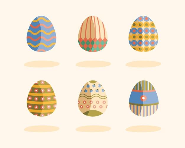 Bundle of six eggs painted happy easter illustration design