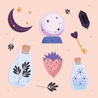 Bundle of six esoteric  set icons  illustration design