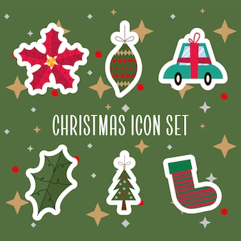 Bundle of six merry christmas icons vector illustration design
