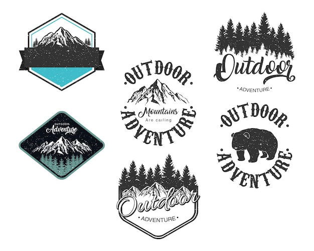 Bundle of six outdoor adventure letterings emblems  illustration