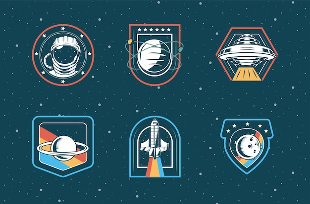 Bundle of six space patches set