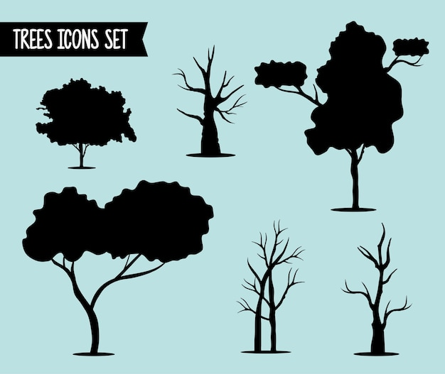 Bundle of six trees forest silhouette style icons and lettering.