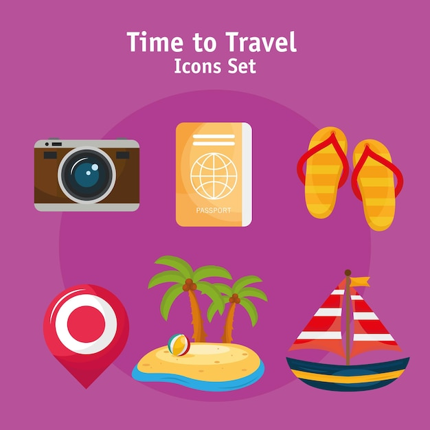 Bundle of six vacations travel set icons and lettering