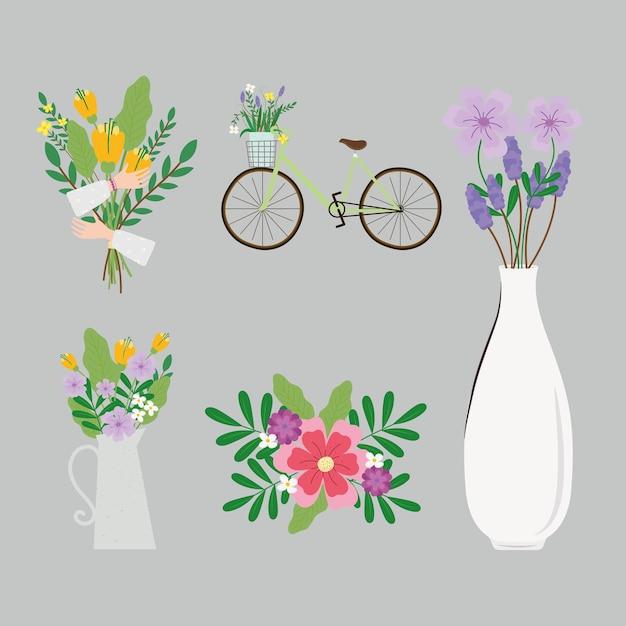 Bundle of six womens day set icons  illustration