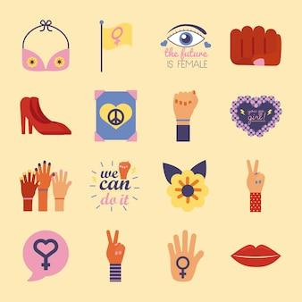 Bundle of sixteen feminism flat style icons vector illustration design