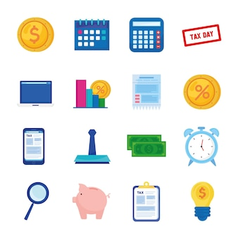 Bundle of sixteen tax day set icons  illustration