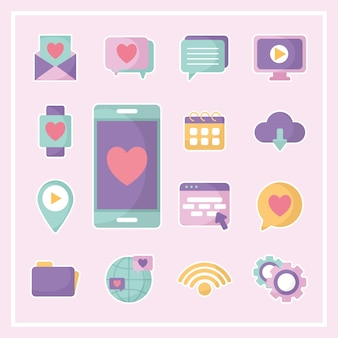 Bundle of social media icons over a pink illustration design