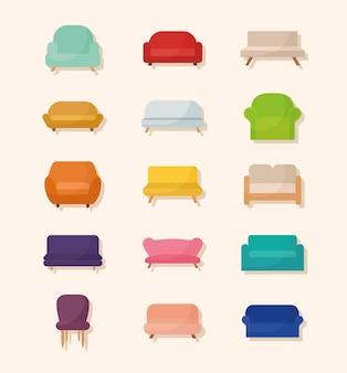 Bundle of sofa icons on a beige background  illustration