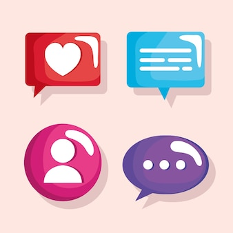 Bundle of speech bubbles and user icons  illustration