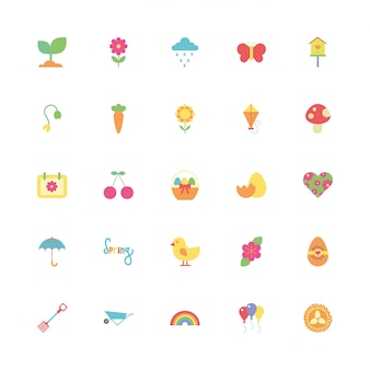 Bundle of spring set icons