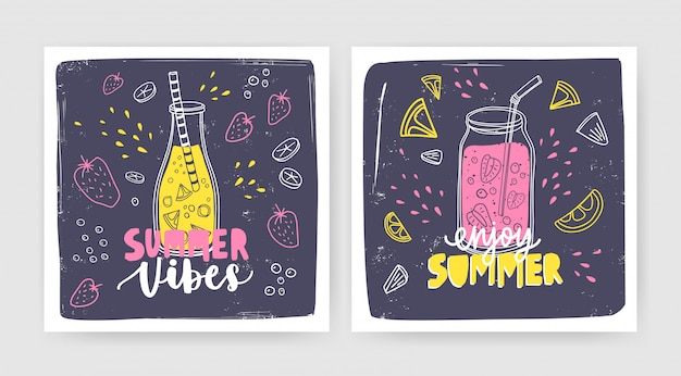Bundle of square card templates with smoothies, juices or cocktails in bottle and jar with straw and lettering. summer refreshing drinks with fruits and berries. seasonal illustration.