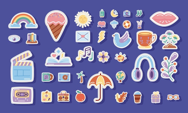 Bundle of stickers set icons in blue background.