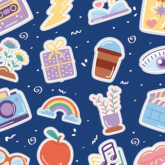 Bundle of stickers set icons pattern.