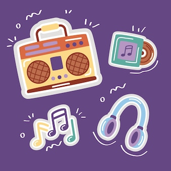Bundle of stickers set icons in purple background.