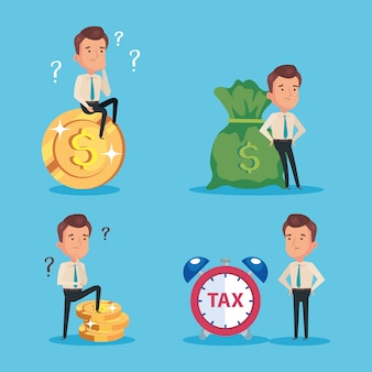 Bundle of tax day paid with businessmen