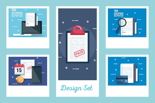 Bundle of tax and set icons