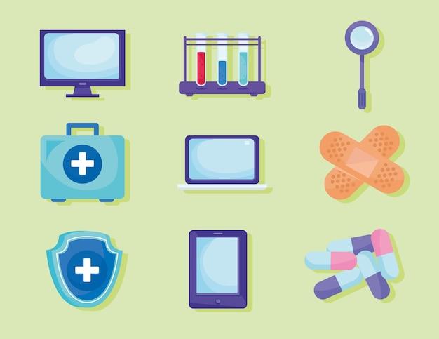 Bundle of telemedicine set icons  illustration Premium Vector