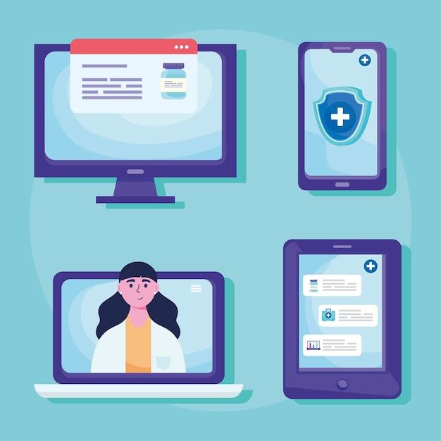 Bundle of telemedicine set icons  illustration