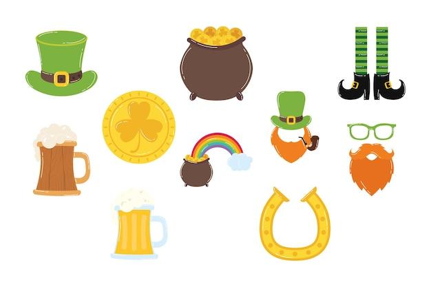 Bundle of ten saint patricks day set icons  illustration