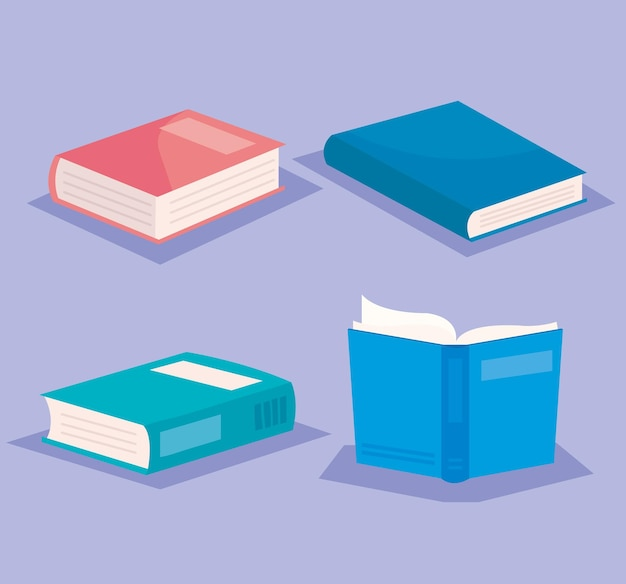 Bundle of text books literature icons illustration design
