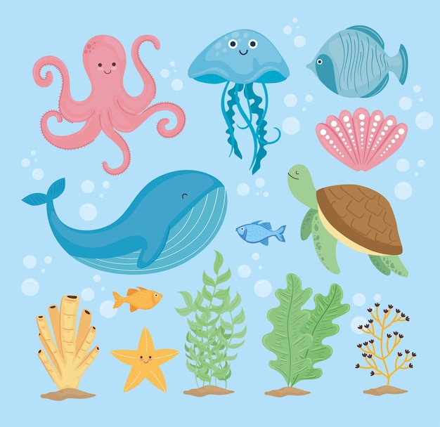 Bundle of thirteen underwater world set icons  illustration