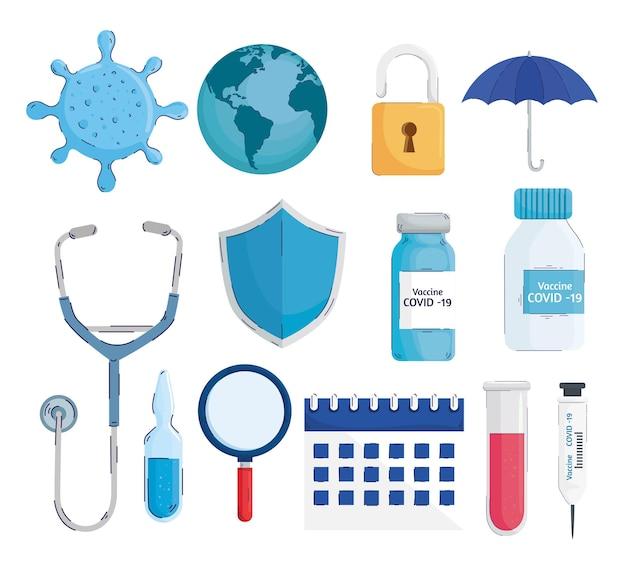 Bundle of thirteen  vaccine set icons  illustration