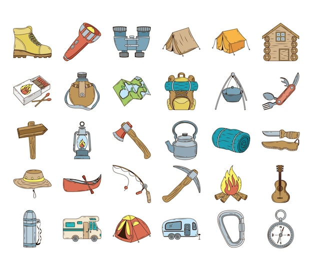Bundle of thirty camping set line and fill icons