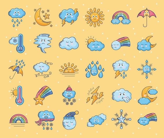 Bundle of thirty kawaii weather comic characters illustration design