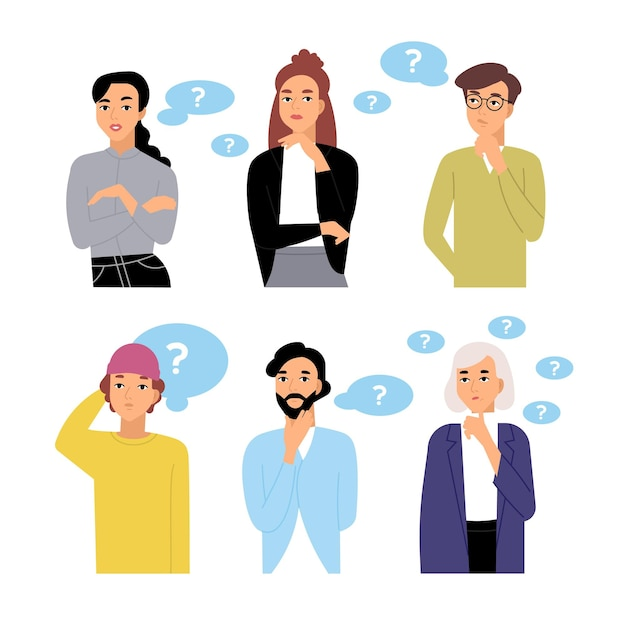 Bundle of thoughtful male and female cartoon characters and thought bubbles with question marks. collection of portraits of men and women thinking isolated on white background. vector illustration