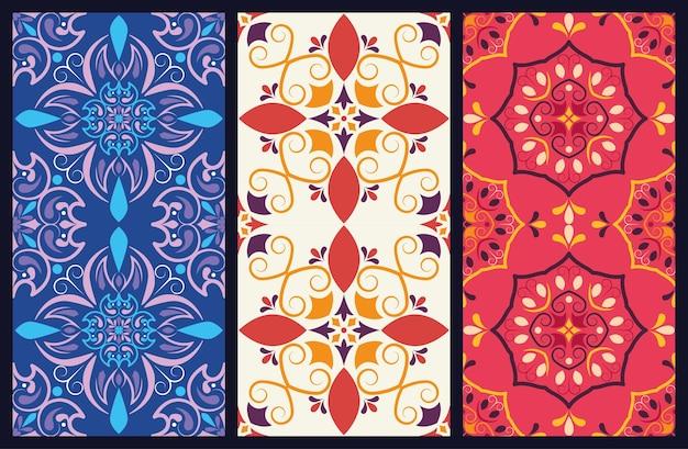 Bundle of three art italian style ceramic backgrounds