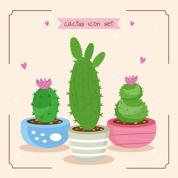 Bundle of three cactus plants and lettering set icons illustration design