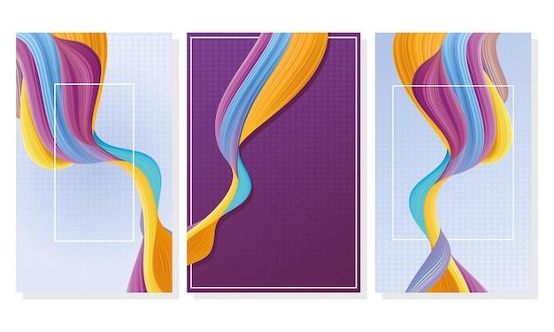 Bundle of three color flow backgrounds Premium Vector