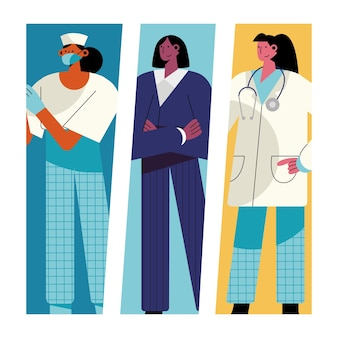 Bundle of three girls different professions characters  illustration