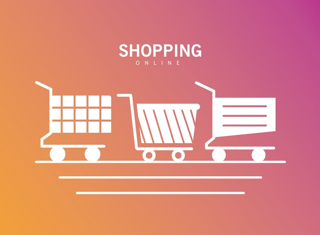 Bundle of three shopping carts line style icons illustration design