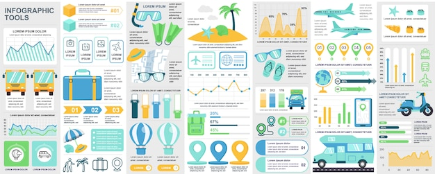 Bundle travel infographic ui, ux, kit elements with charts, diagrams, summer vacation, flowchart, travel timeline, journey icons elements  template.  infographics set.