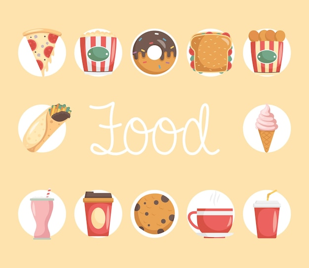Bundle of twelve fast food set icons and lettering