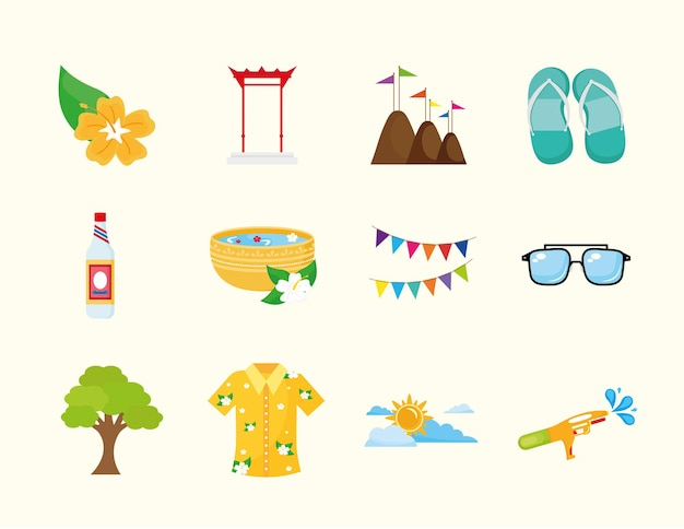Bundle of twelve songkran festival set icons  illustration