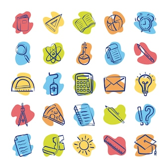 Bundle of twenty five back to school supplies vector illustration design